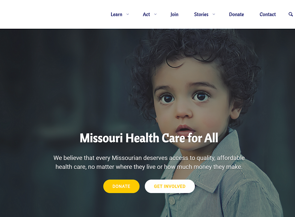 Missouri Health Care for All website screenshot