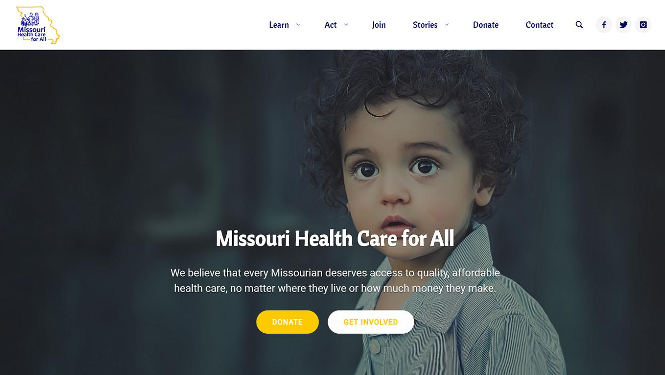 Missouri Health Care for All website screenshot
