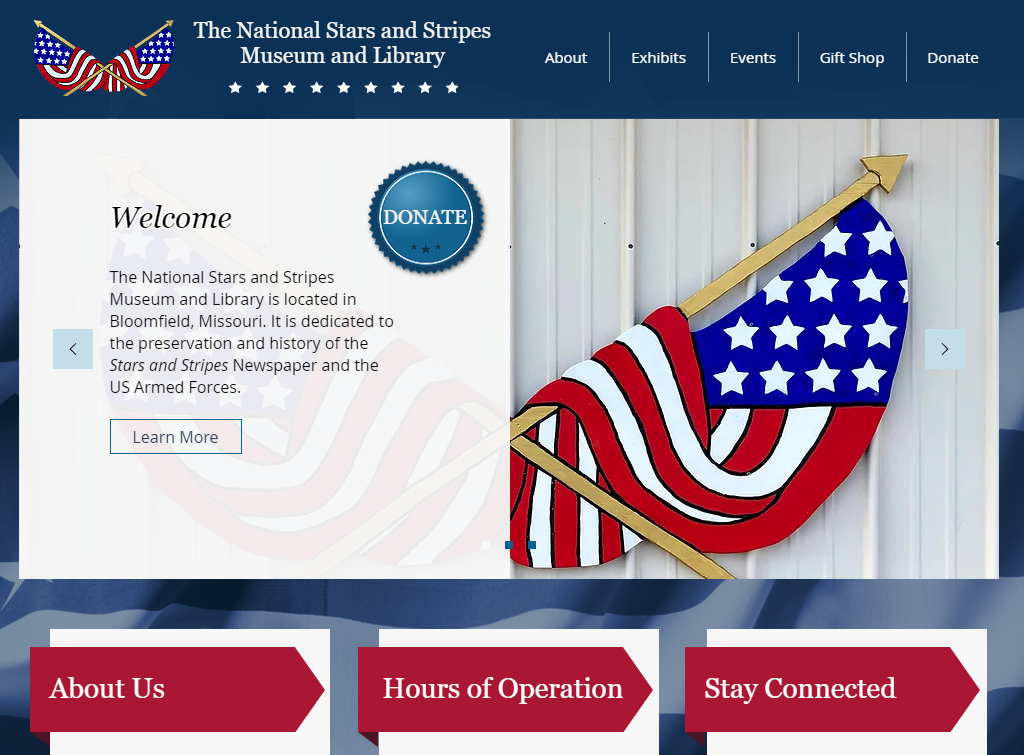 The Stars and Stripes Museum and Library website screenshot