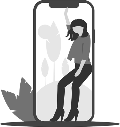 illustrated woman dancing with a giant cell phone and leaf behind her